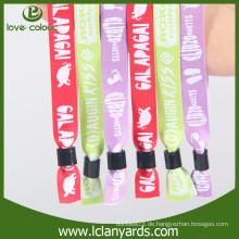 Kundenspezifisches Festivalgroßverkauf gedrucktes Gewebegewebe Wristband für VIP