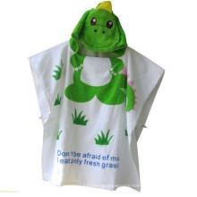 Cute green crocodile designs bath robe cotton girl bath robe
