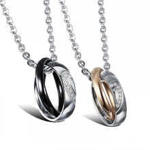 Jewelry Manufacturers new design double rings twisted stainless steel couples necklace