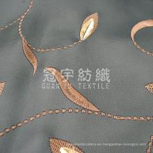 Tejido sintético de cuero de PU bordado para tapicería