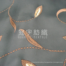 Embroidery PU Leather Synthetic Fabric for Upholstery