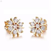 wholesale costume rose flower cut dubai 24k gold diamond stud earrings jewellery