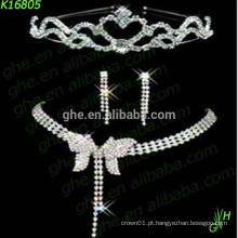 Jóias de noiva, conjunto de jóias de strass, colar de moda
