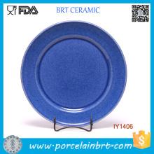 Wholesale Simple Circle Shape Navy Ceramic Plate