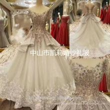 2017 Luxury Dubai heavy flower beading short sleeve princess wedding dress