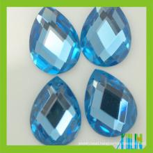 new high refraction lead free machine cut tear pear drop crystal glass beads flat back