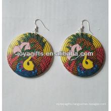painted wooden earrings Printing earring