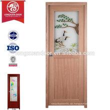 2015 China Factory billig PVC Kunststoff WC Bad Tür mit mattiertem Glas