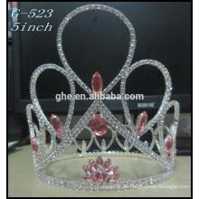 Silberne Kinderprinzessin-Tiara-Großverkauf Heiße Verkaufs-Schönheits-Mädchen-Tiara-Kronen ringsum Festzug
