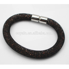 Black plated 316L stainless steel crystal Magnet stardust Mesh bracelet