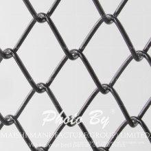 Valla de tela de enlace de cadena revestida de PVC negro