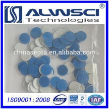 Fertigung 18mm Blau PTFE (Teflon) / Weiß Silikon Septa für Probengefäße
