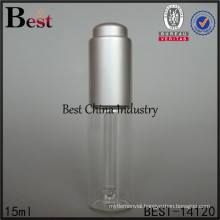 15ml clear Tube Glass Bottle with silver press pump