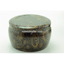 Black Vivid Flower Painting Round Tin cansit for Matcha or Loose leaves Tea