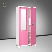 quarto de aço de dois porta guarda-roupa espelho design barato mobiliário guarda-roupa quarto