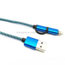 2 em 1 cabo de dados USB para micro e relâmpago