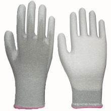 White PU Revêtue Gant Nylon Liner Knit Wrist
