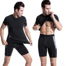 Camiseta deportiva de manga corta para hombres Camiseta deportiva deportiva para sudadera elástica