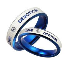 Boda azul compromiso Coreano parejas anillo de acero inoxidable joyería por mayor de cristal de pareja