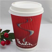 Tasses jetables de papier jetables de café de conception faite sur commande avec le couvercle