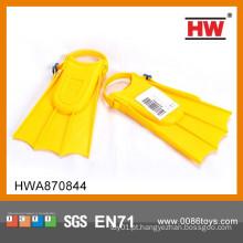 Alta qualidade plástico amarelo brinquedo nadadeiras crianças natação acessórios