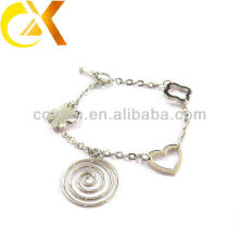 stainless steel jewelry bracelet with heart and flower pendant for lovely girl