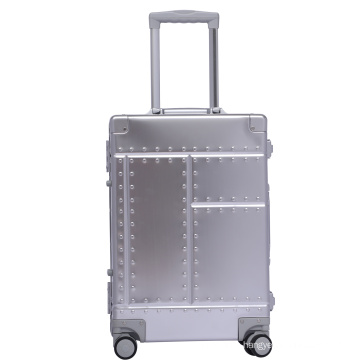 Factory Direct selling Aluminum  carry on luggage suitcase with TSA lock and universal wheels