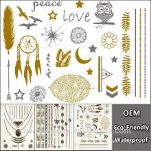 Hombres Flash diseño impermeable Desechable tatuaje de oro diseño de etiqueta de transferencia de agua de tatuaje temporal al por mayor YS018