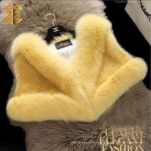 2015 piel multicolor de visón de la venta caliente de las mujeres con el mantón del estilo del cortocircuito del collar del zorro