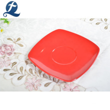 High quality square solid color custom ceramic cup saucer