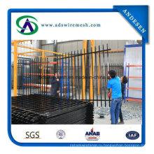 Черный Покрынный порошок, Гальванизированный декоративный трубчатый ворота и стальной забор сад забор