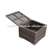 Outdoor Rattan Storage Cushion Box / Ottoman With Cushion
