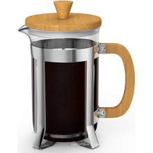 Hot Selling Borosilicate Pyrex Glass and Bamboo Wood French Press Coffee Espresso Tea Maker with Stainless Steel Plunger