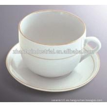 Venta al por mayor taza de café de porcelana blanca y platillo