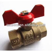 forged NPT full port brass ball valve with butterfly red handle CSA FM UL IAPMO