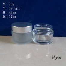 60ml Personal Care Glass Cream Jar 2oz Glass Cosmetic Jar Glass Jar with Cap