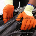 Blue Latex Palm Coated Gloves on 10 Gauge Grey 5 Yarns Seamless Cotton Shell, Crinkle Finish Gloves