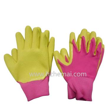 Luvas de jardinagem coloridas para crianças Espuma de látex Palm Revestida luva de trabalho
