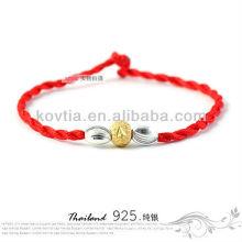 Mais recente prata pulseiras de contas pulseira cordão trançado vermelho atacado