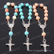 Akzeptable Custom Kunststoff Perlen Rosenkranz Armband als christliche Geschenke verwendet