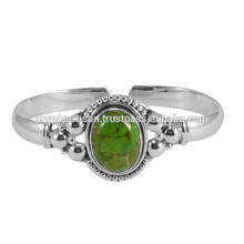 Natural Green Copper Turquoise Gemstone 925 Sterling Silver Bangle