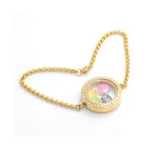 Fantaisie femmes cristal chaîne en acier inoxydable bracelet, or vivant photos flottant bracelet