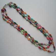 3 строки Яркое ожерелье из раковины и кристалла