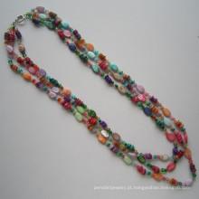 3 linhas brilhantes colar feito de Shell e cristal