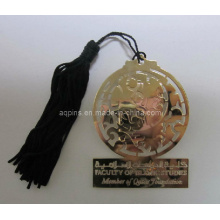Metal Gold Hollow out Thin Book Mark with Tassels