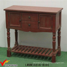 Mão, pintado, vindima, consola, antiga, vermelho, madeira, tabela