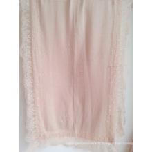 100% cachemire tricoté Shawl + Lace Trimming