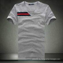 100% Baumwolle Männer Qualität V-Ausschnitt Tight T-Shirt