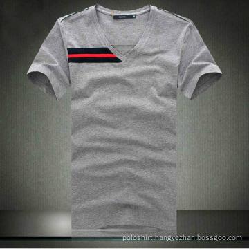 100% Cotton Men′s Quality V-Neck Tight T Shirt