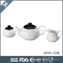 Preço por atacado pequeno branco e preto cor cerâmica estilo marroquino conjunto de chá
